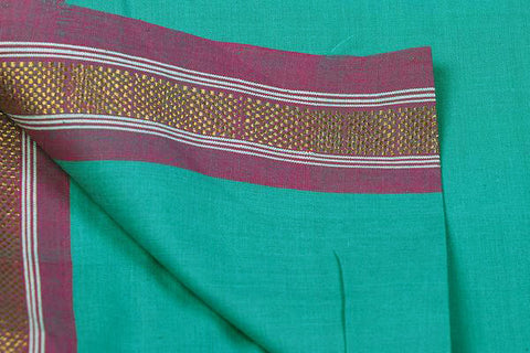 Aqua - Dama Mangalgiri Handloom Cotton Fabric with Zari Thread Border