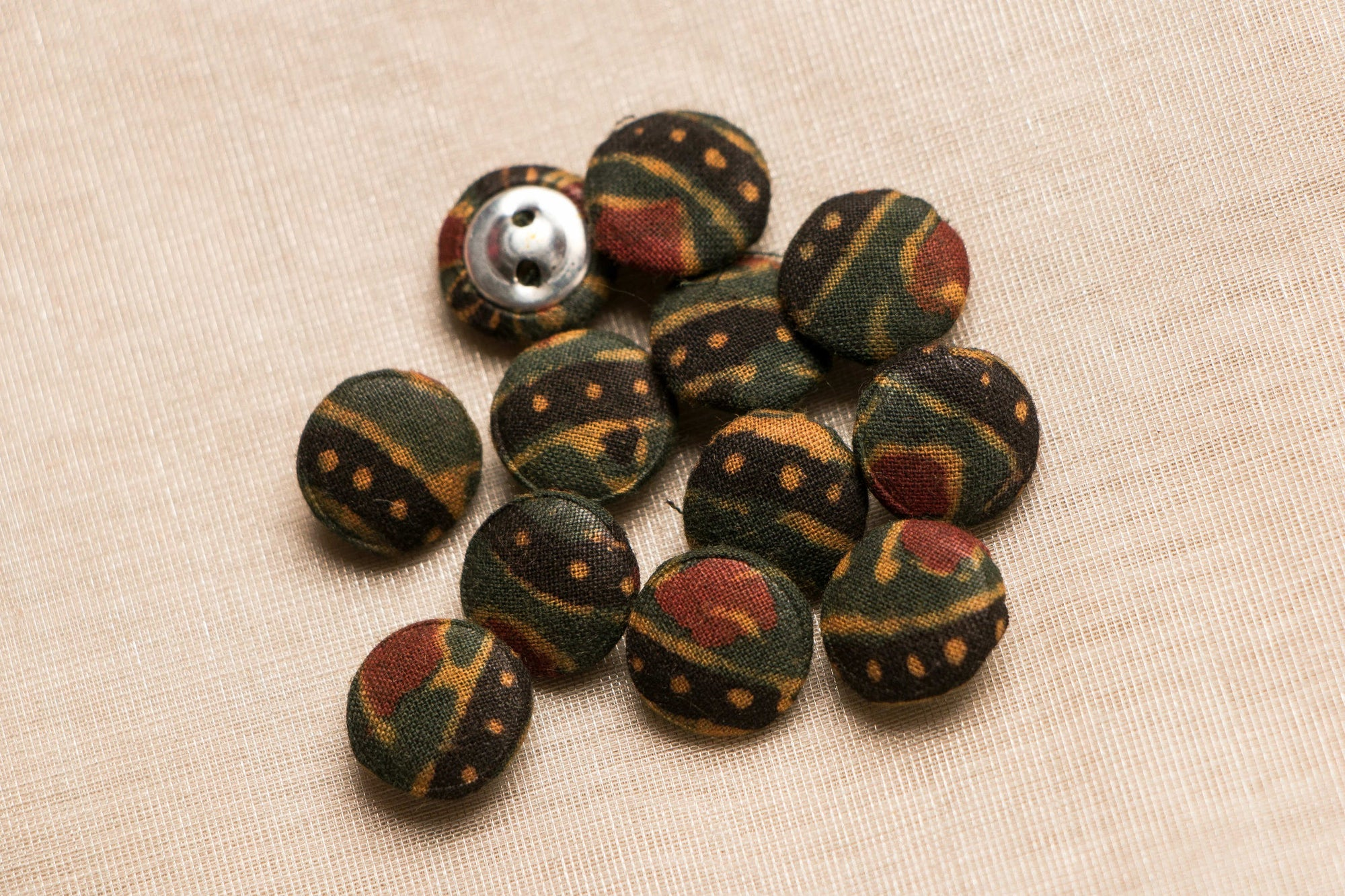 Ajrakh Fabric Buttons Mini (Set Of 12 )