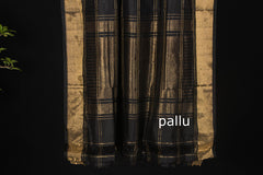 Hand Spun Pure Silk Checks Ikkat Zari Saree With Blouse