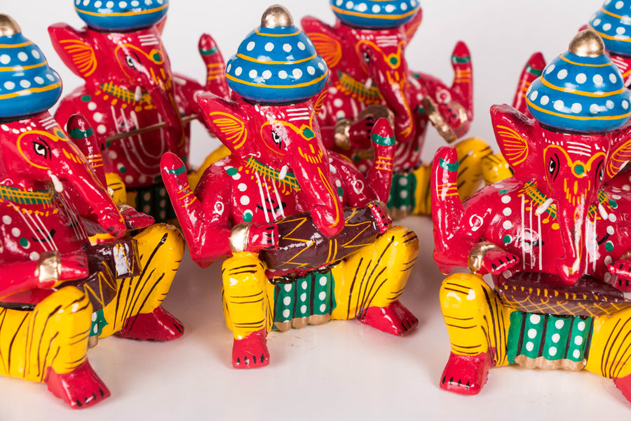Handpainted Wooden - Musician Ganesh (Set of 6)