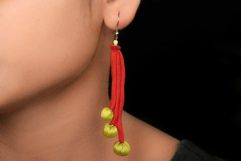 Jugaad Three Long Beaded Earrring