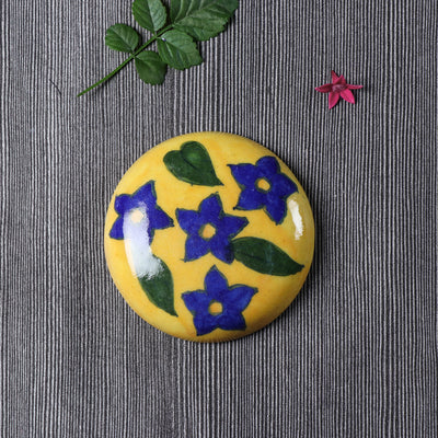 Original Blue Pottery Ceramic Tile Hand Mirror