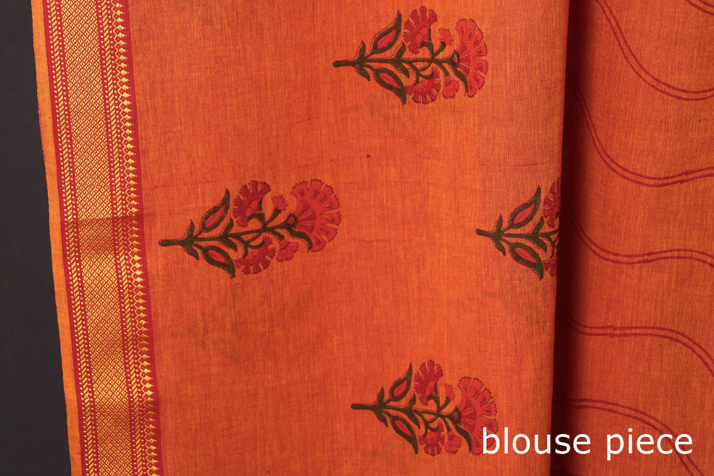 Pure Handloom Mangalgiri Cotton Sanganeri Hand Block Print Saree with Border