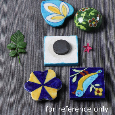 Original Blue Pottery Ceramic Tile Fridge Magnet
