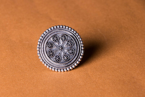 Antique Finish German Silver Ring (adjustable)