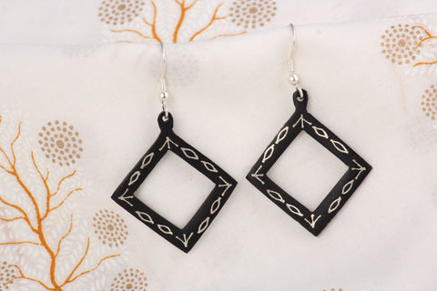 Bidri Silver Inlay Earrings (Big)