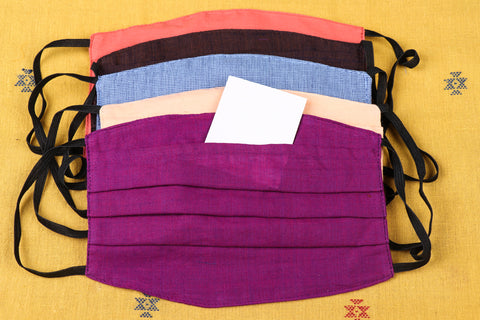 Plain Cotton Handloom Fabric 3 Layer Pleated Face Cover with Filter Pocket (Set of 5)