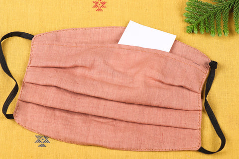 Plain Cotton Handloom Fabric 3 Layer Pleated Face Cover with Filter Pocket