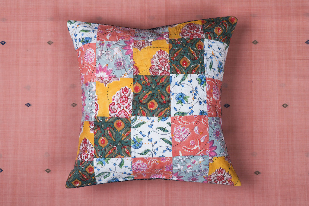 Kantha Tagai Embroidered Ajrakh Cotton Cushion Cover (16in x 16in)