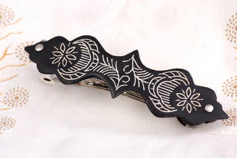 Bidri Silver Inlay Hair Clip
