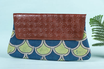 Handcrafted Clutch with Handpainted & Embossed Leather Flap