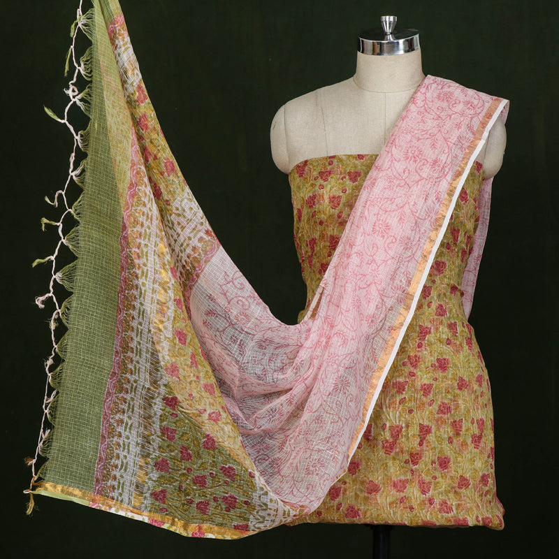Sanganeri Block Printed Kota Doria 3pc Suit Material Set