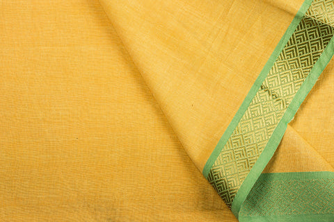 Yellow - Dama Mangalgiri Handloom Cotton Fabric with Zari Thread Border