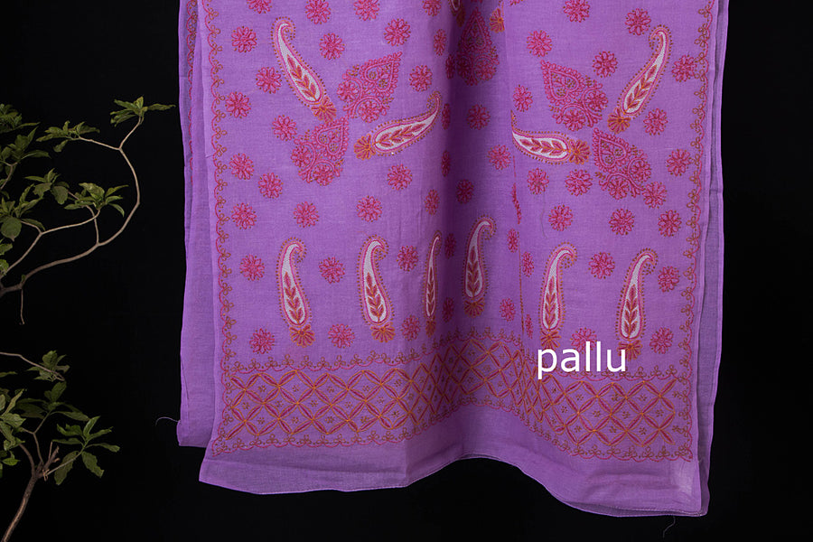Lucknow Chikankari Hand Embroidered Cotton Saree with Blouse