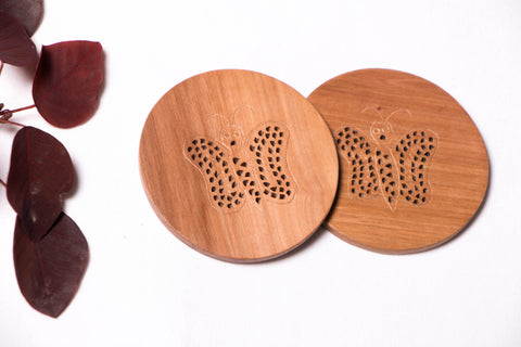 Hand Carved Loquat Wood Coaster coasters (Set of 2)