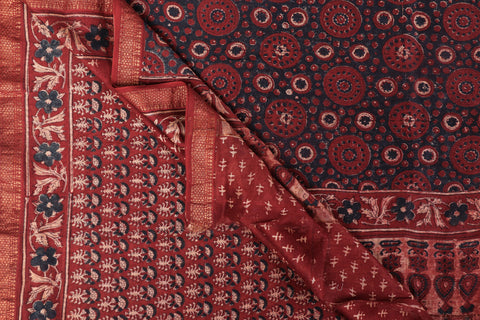 Ajrakh Hand Block Print Natural Dyed Chanderi Silk Saree by Abdul Rauph