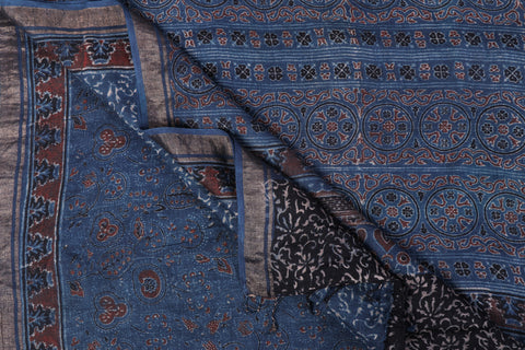 Ajrakh Hand Block Print Natural Dyed Pure Linen Saree by Abdul Rauph