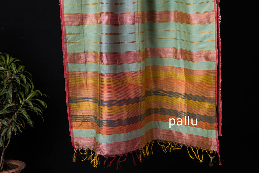 Bhagalpuri Handwoven Pure Desi Tussar Silk Saree with Zari