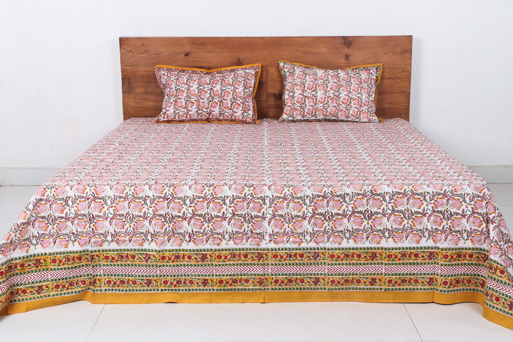 Sanganeri Hand Block Printed Cotton Double Bed Cover with Pillow Covers - 305 x 254 cm