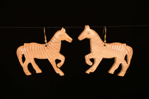Hand Carved Wooden Earring