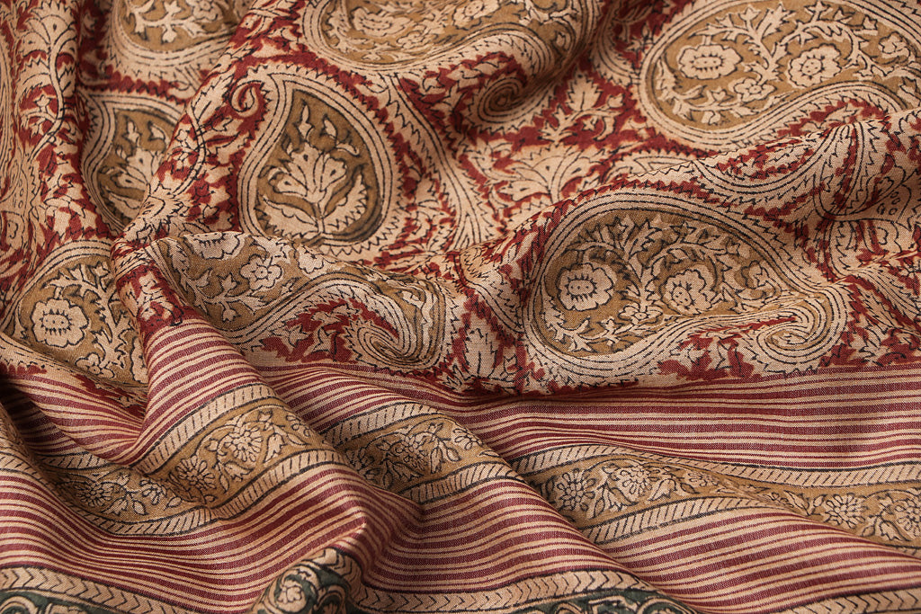 Original Pedana Kalamkari Hand Block Print Natural Dyed Tussar Cotton Saree with Dobby Border