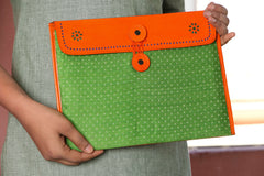 Leather With Mashru Silk Fabric Ipad Cover