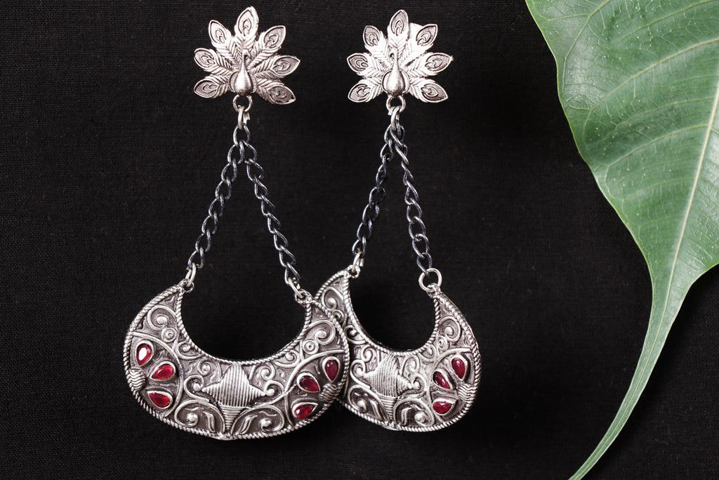Antique Finish Oxidised German Silver Earrings