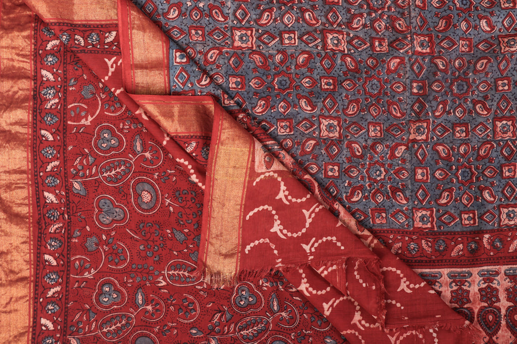 Ajrakh Hand Block Print Natural Dyed Mangalgiri Cotton Saree by Abdul Rauph