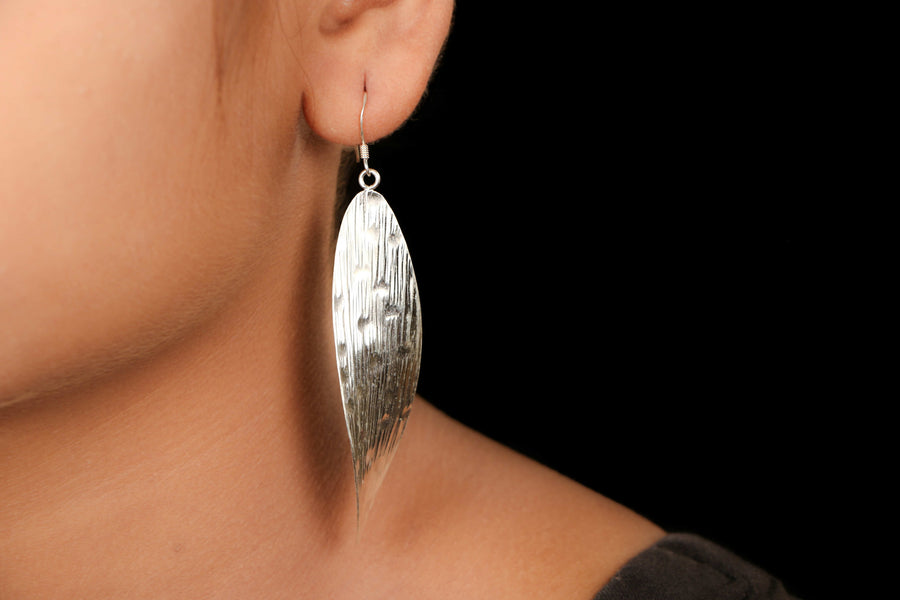 Sterling Silver Featherilte Etched Sheet Earrings