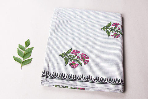Hand Block Printed South Khadi Cotton Blouse Piece
