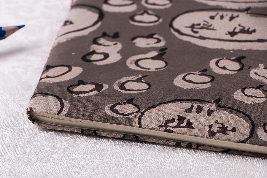 Block Print Fabric Cover Handmade Paper Slim Diary 9in x 7in
