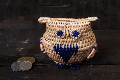 Handmade Sikki Grass Owl Money Bank