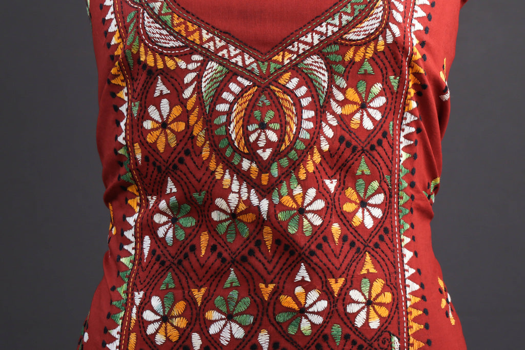 Bengal Kantha Embroidery Pure Cotton Kurta Material