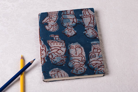 Block Print Fabric Cover Handmade Paper Slim Diary 7in x 5in