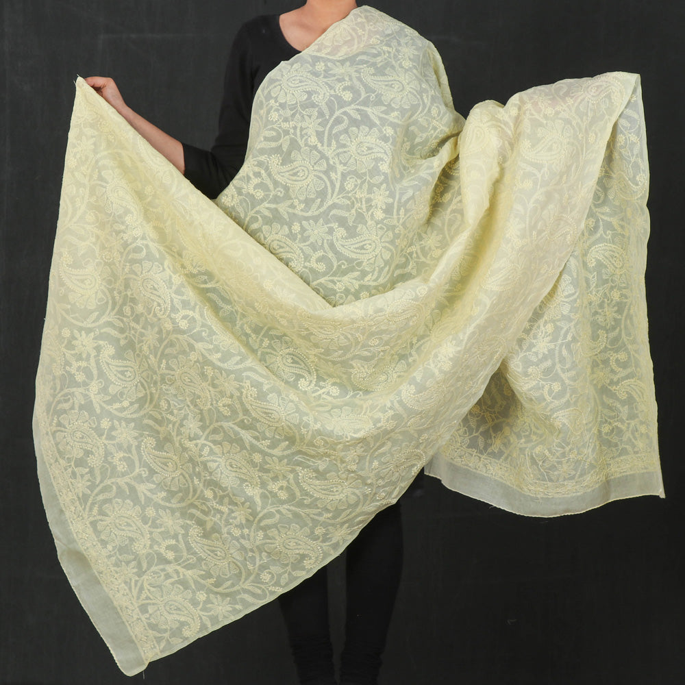 Chikankari Hand Embroidered Full Jaal Cotton Dupatta