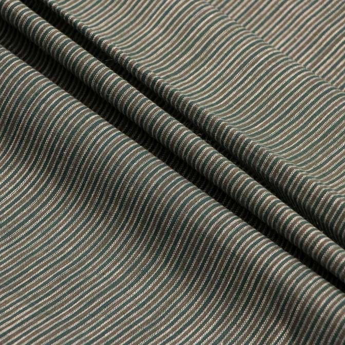 Handwoven Malkha Fabric - Kora, Olive Green Stripes / Olive Green