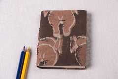 Block Print Fabric Cover Handmade Paper Slim Diary 5in x 3.5in
