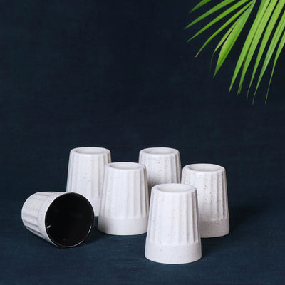 Handmade Ceramic White Matte Tea Glasses (White-Black , Set of 6) Cutting Chai Glasses