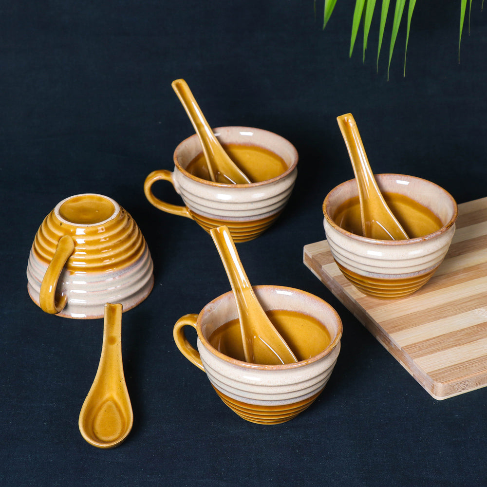 Handmade Hand Glazed Ceramic Soup Cup with Spoon (350 ml each, Set of 4, Sand yellow and Off White)