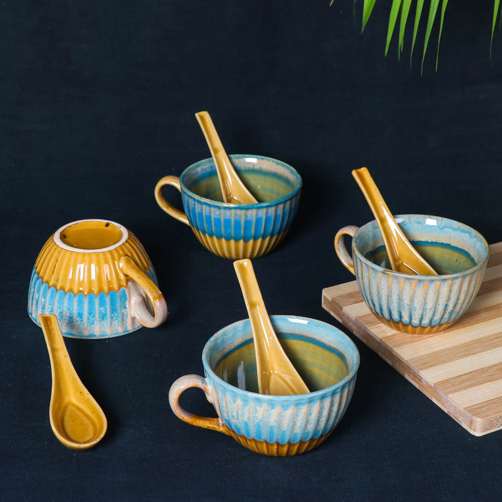 Handmade Hand Glazed Ceramic Soup Cup with Spoon (300 ml Each, Set of 4, Teal and Sand Yellow)