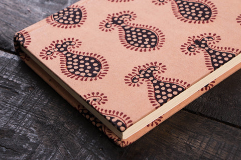 Bagh Print Fabric Cover Handmade Paper Notebook 7in x 5in