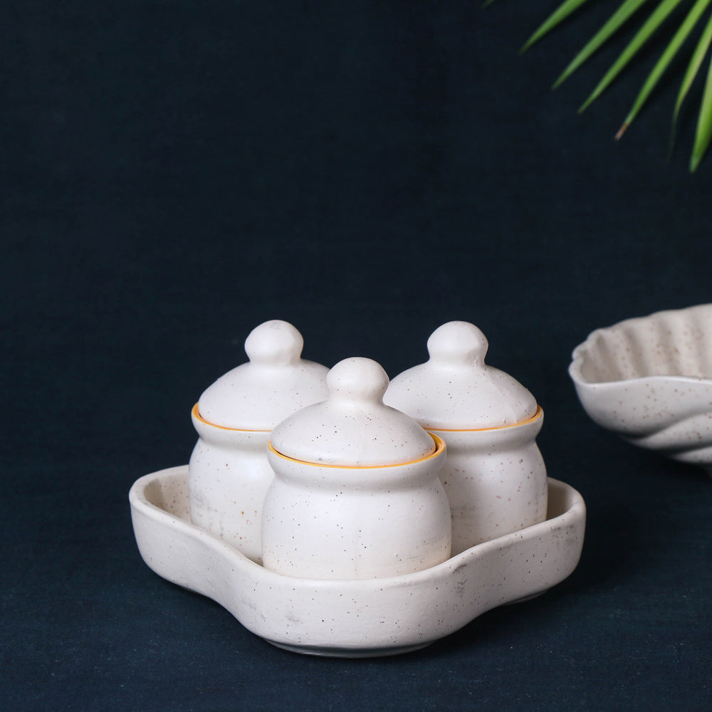 Handmade Ceramic White Matt Pickle Serving Jar Set with Tray (Set of 3, White and Yellow)