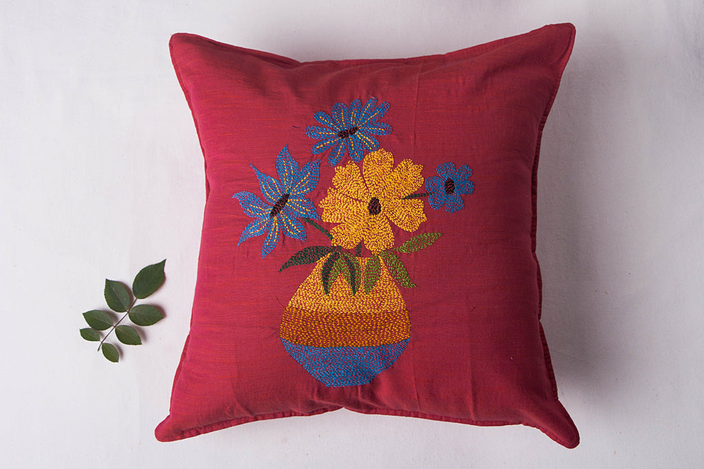 Sonapani Tagai Work Cotton Cushion Cover (16in x 16in)