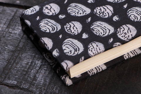 Hand Printed Fabric Cover Handmade Paper Notebook 5in x 3.5in