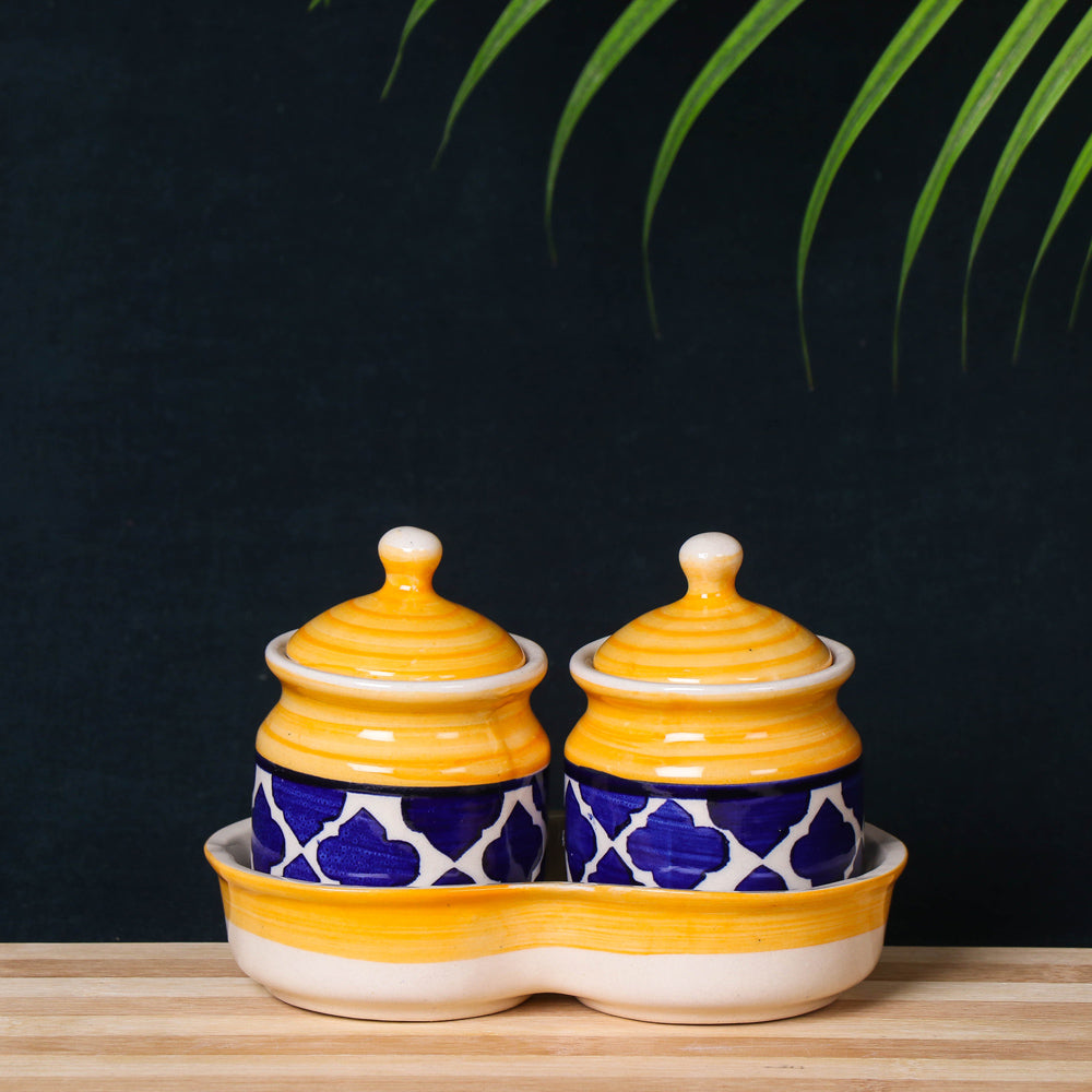 Handmade Ceramic Pickle Serving Jar Set with Tray (Set of 2, Yellow and Blue)