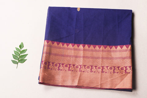 Kanchipuram Checks Cotton Blouse Piece with Zari & Temple Border