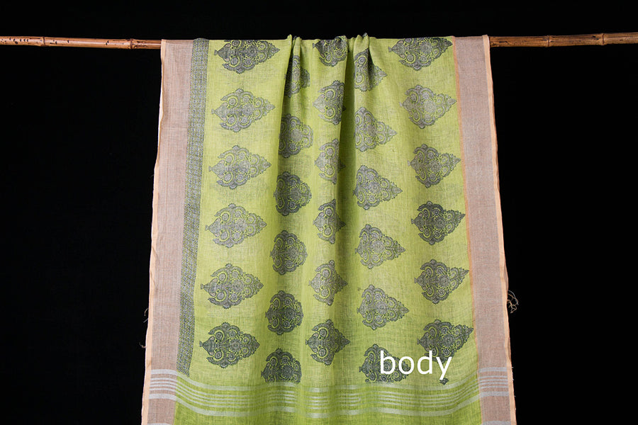 Pure Linen Floral Printed Zari Border Saree from Bhagalpur
