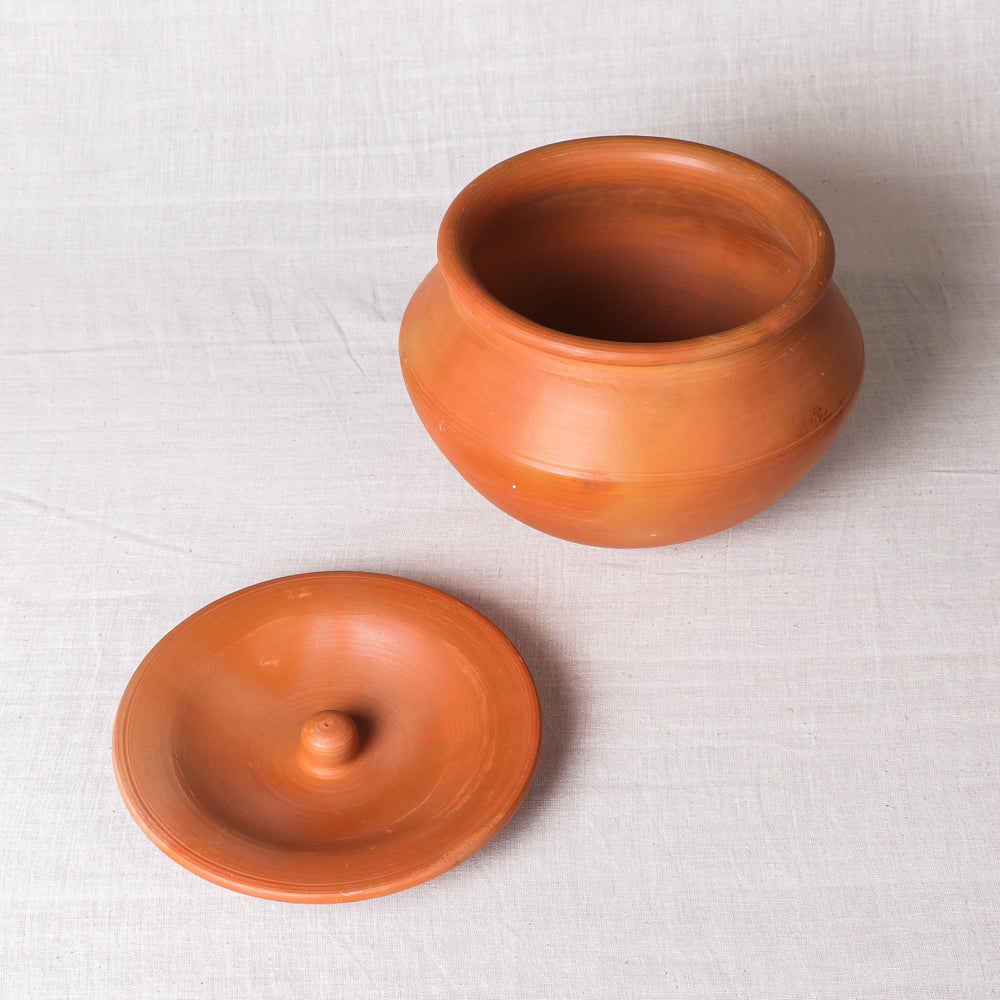 Handmade Terracotta Clay Handi / Pot with Lid for Cooking / Serving (Brown, 3 Litre)