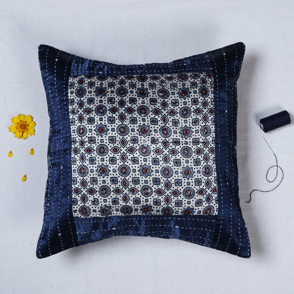 Kutch Tagai Embroidered Mashru Silk Cushion Covers (16 x 16 in)
