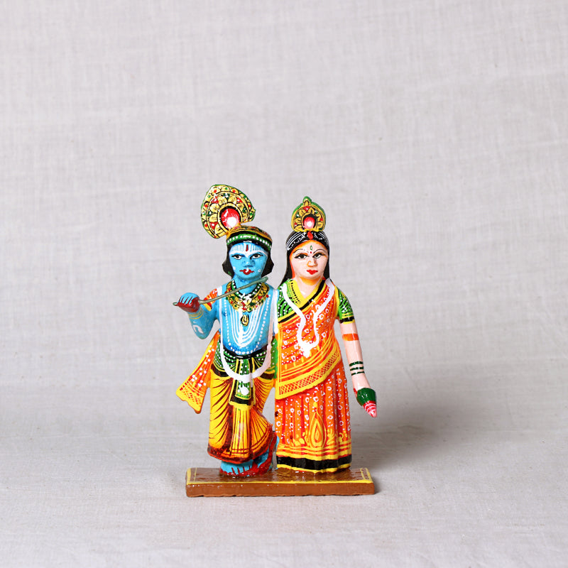 Radha Krishna - Handpainted Wooden Home Decor Item